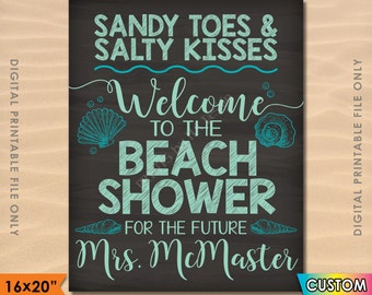 "Beach Bridal Shower Sign, Beach Wedding Shower, Personalized Wedding Shower Welcome Poster, PRINTABLE 8x10/16x20"" Chalkboard Style Sign"