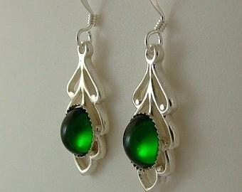 Swarovski Emerald Leaf drop earrings
