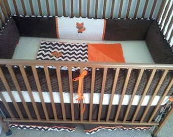 Brown, cream and orange with fox baby bedding set