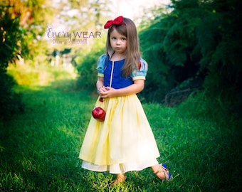 Snow White Inspired Dress Up Costume, Girls and Toddlers Princess Play Dress, Halloween Costume, Disney Vacation Dress, Sz 2T - 10