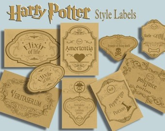harry potter  labels - halloween printable - halloween labels- high qualitty labels