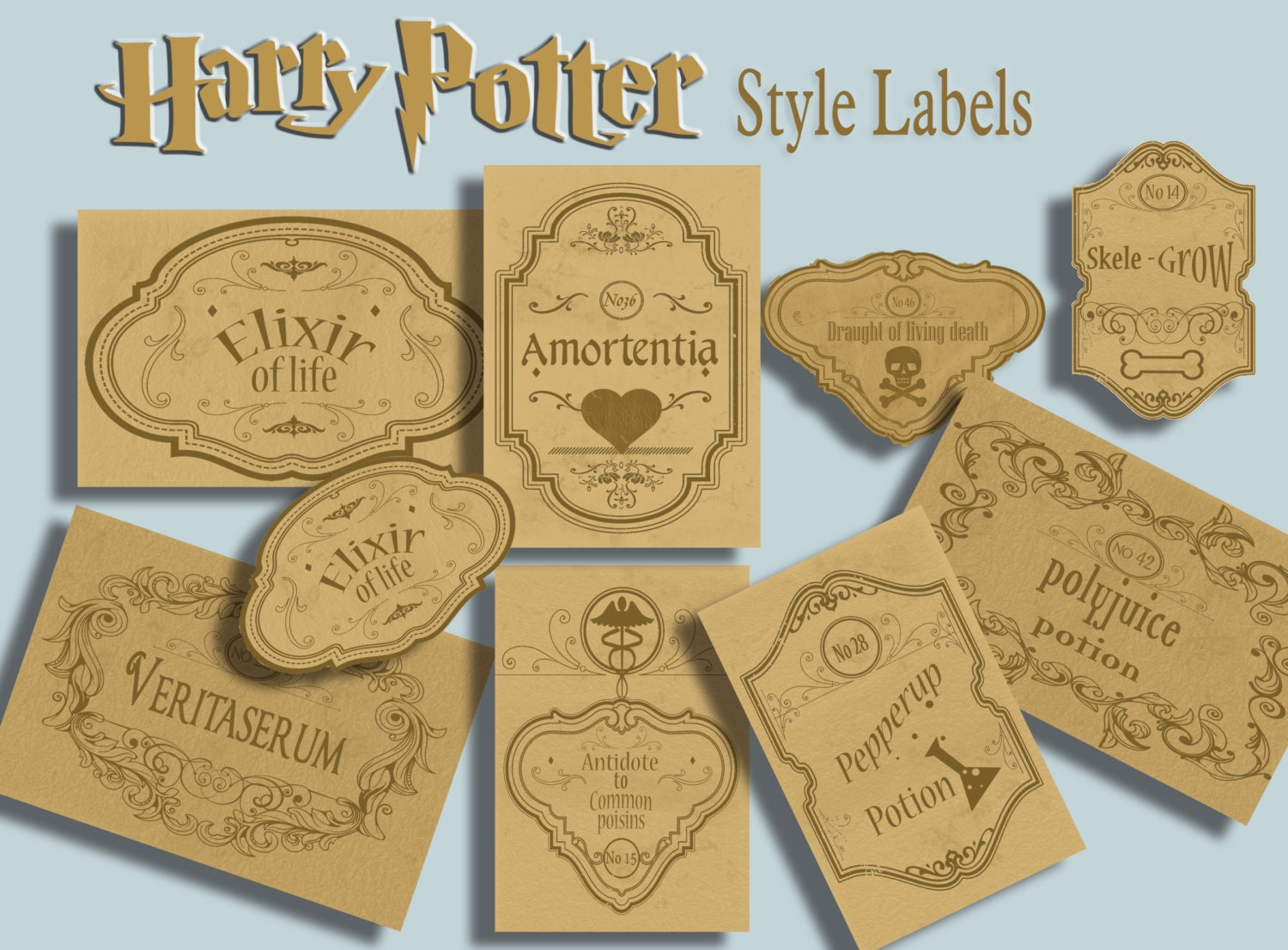 It is a graphic of Transformative Harry Potter Potion Labels Printable