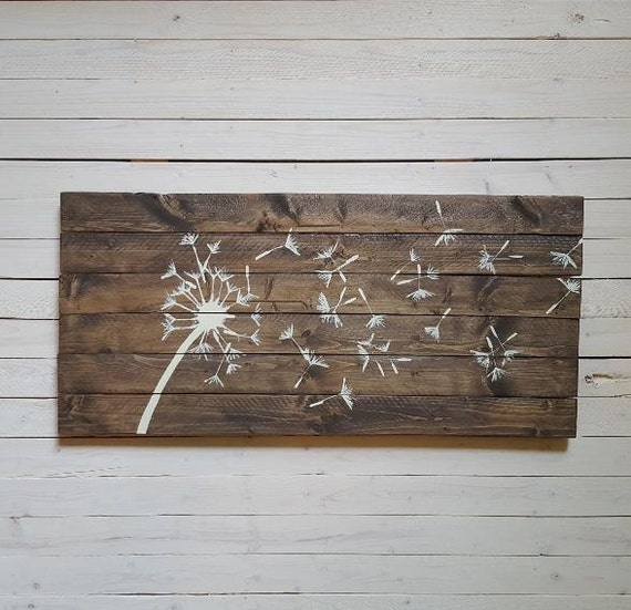dandelion wall art wood panel art handpainted by