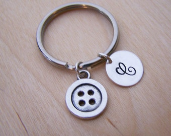 Button Key Chain Charm - Personalized Key Chain - Initial Key Chain - Custom Key Chain - Personalized Gift - Gift for Him / Her
