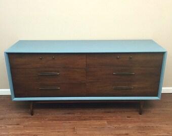 SOLD - Mid-Century Two Tone Dresser Credenza