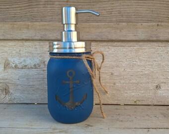 Nautical Mason Jar,Soap Dispenser, Anchor, Soap Pump, Nautical Bathroom Decor, Mason Jar Soap Dispenser, Blue, Mason Jar Soap Pump, Bathroom
