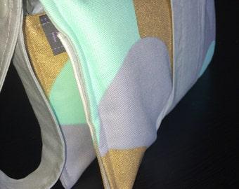 Nappy wallet/ diaper clutch / nappy clutch in cotton mint, metallic gold, grey
