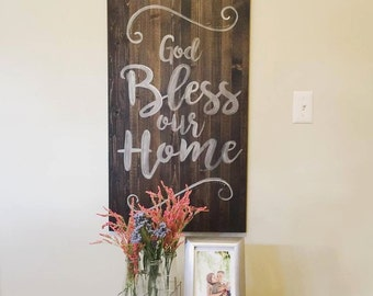 Wooden Sign - God Bless - Custom Wooden Sign - Home Decor - God Bless our Home - Mothers Day - Fathers Day