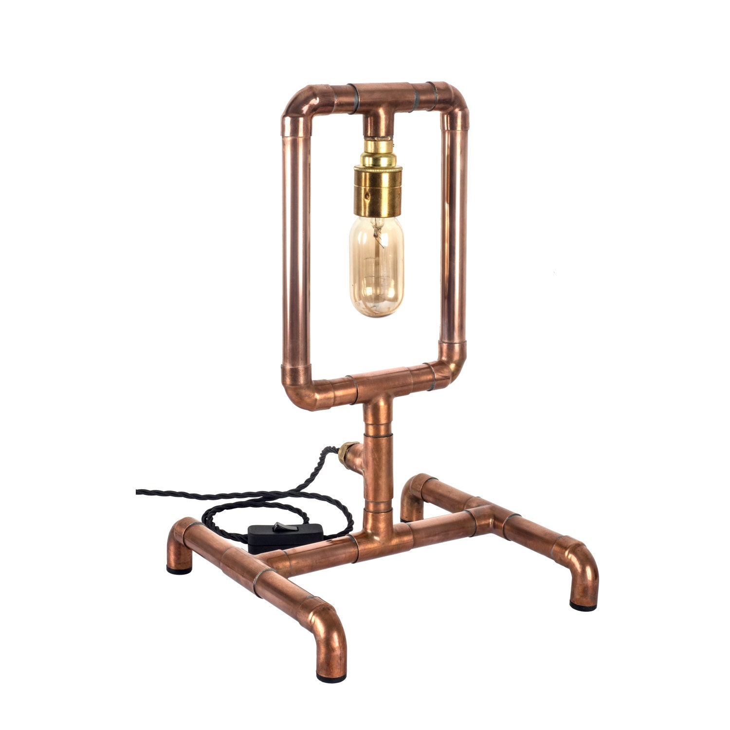 Copper pipe industrial light loop table lamp e27 edison for Table y copper tube