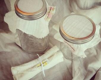 Bundle of four Jar Top Cloths for kombucha, sprouts, vinegars etc. - Fit most Ball Jar lids.