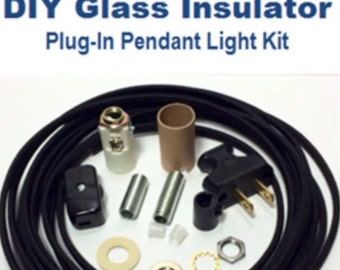 Insulator Swag Light Kit - Plug-In Pendant Lights Parts Kit - DIY Glass Insulator Light