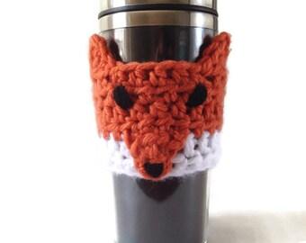 Fox Coffee Mug Sleeve - Crochet Coffee Cup Sleeve - Fox Travel Mug Sleeve - Fox Coffee Cup Cozy