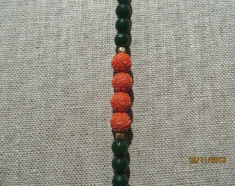 Green Jade and Coral Bracelet