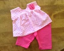 Baby Polka Dot Tunic, Baby Pink Pants, Baby Pink Tunic, Baby White Polka Dot Tunic, 0-3 Mo, 3-6 Mo, 6-12 Mo, 12-18 Mo
