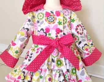 Baby Girl Coat, Baby Twirl Coat, Baby Flowers Coat, Baby Easter Coat, Baby Pea Coat, Baby Double Breasted Coat,  12-18 Mo