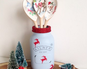 Hand painted large Christmas Kilner jar finished with red reindeers and glitter lid
