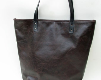 leather shopper, brown leather tote bag, brown leather shopper with interior pockets