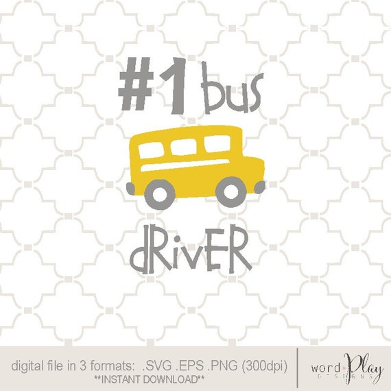 SVG 1 Bus Driver back to school / EPS PNG
