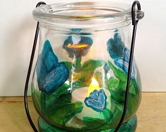 Hand Painted Floral Glass Hanging Hurricane Candle Holder By Nickole Schmidt for WimsicalGlassography