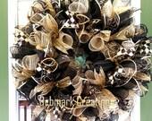Black and Gold Wreath, Christmas wreath, Everyday wreath, Front door wreath