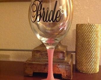 Bride Sparkle Wine Glass