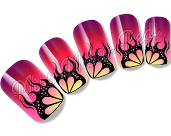 Nail Art Water Slide Decals Transfers Stickers - Gothic Black Flames Halloween K185A