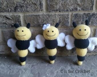 Bumble bee rattle, handmade crochet  bee rattle