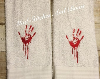 Handmade bloody zombie hand embroidered hand towels set of 2
