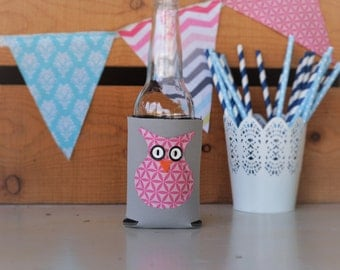 Pink Owl Can Cooler