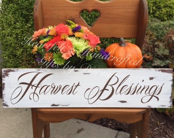 """Harvest Blessings handcrafted painted wood sign, Rustic Fall sign, Autumn sign, 6' x 24"""""""