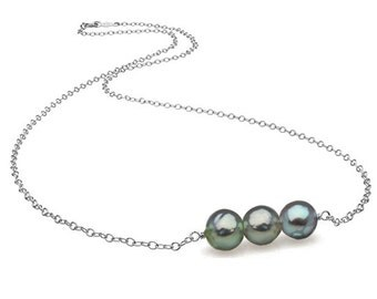 "Natural Color Blue Baroque Akoya Pearl ""Barre"" Pendant, 7.5-8.0mm"