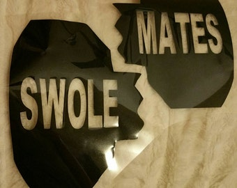 Swole Mates Work Out Iron On - Bows and Dumbbells - Workout-  Gym Wear - Couples - Best Friends - BFF