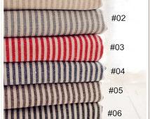Classic Stripe Fabric Navy Stripe Fabric Stripe Linen Fabric Linen Cotton Fabric for Cloth Home Decor 1/2 yard f64