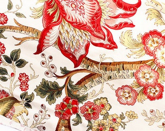 Large Peony on Fabric Cotton Linen Fabric Shabby Chic Floral Fabric,Red Peony Fabric Home Decor Curtain Quiltting - 1/2 yard h29a