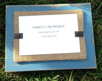 Thick Distressed Wood Picture Frame, Blue with Burlap, Rustic, 4 x 6 Frame