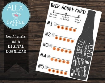 Printable Score Card and Beer Tasting Sheet For Your Next Party or Get Together, Just Download and Print