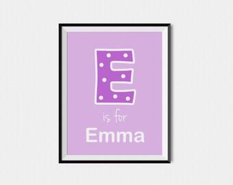 Nursery Name Wall Art Print, Custom Name Art, Personalized Nursery Art, Kids Name Art, Letter Wall Art, Kids Print, Initial, Monogram Print