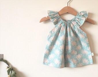 Baby Girls Flutter Top, Peasant Top Tilda Fabric