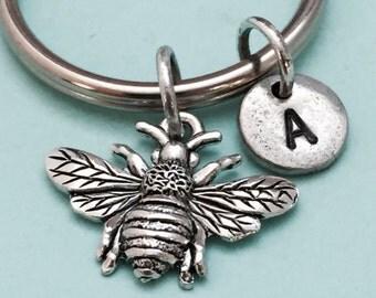 Bee keychain, bee charm, insect keychain, personalized keychain, initial keychain, initial charm, monogram