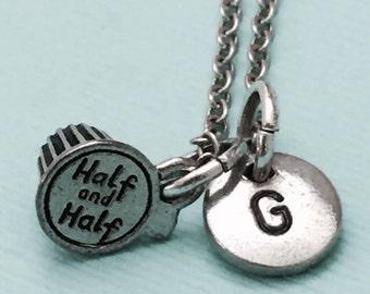 Half and half necklace, half and half charm, food necklace, personalized necklace, initial necklace, initial charm, monogram