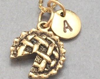 Pie necklace, pie charm, food necklace, initial necklace, initial charm, monogram, personalized necklace, apple pie necklace