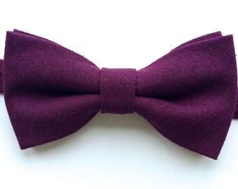 Dark Cranberry Linen Bow Tie