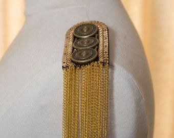 Steampunk shoulder epaulets in gold color