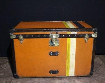 1910s Orange Louis Vuitton Steamer Trunk