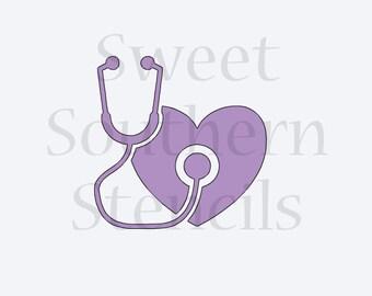 Stethoscope & Heart Stencil
