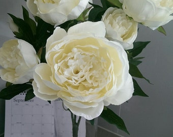 Real looking peonies bush,cream peony bush, white peony bush, ivory peony, silk peony, Peonies Silk Flowers Artificial Faux for Home Decor