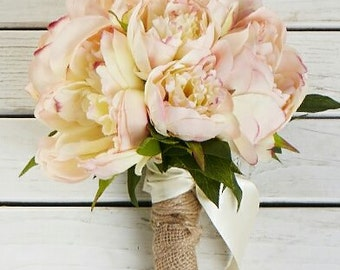 Peach Pink Peony Bridal Bqouquet, Apricot Peony, Peony Bouquet in Variegated Pink, Peony Bouqut in White, Peony Bouquet in Bride Magazine