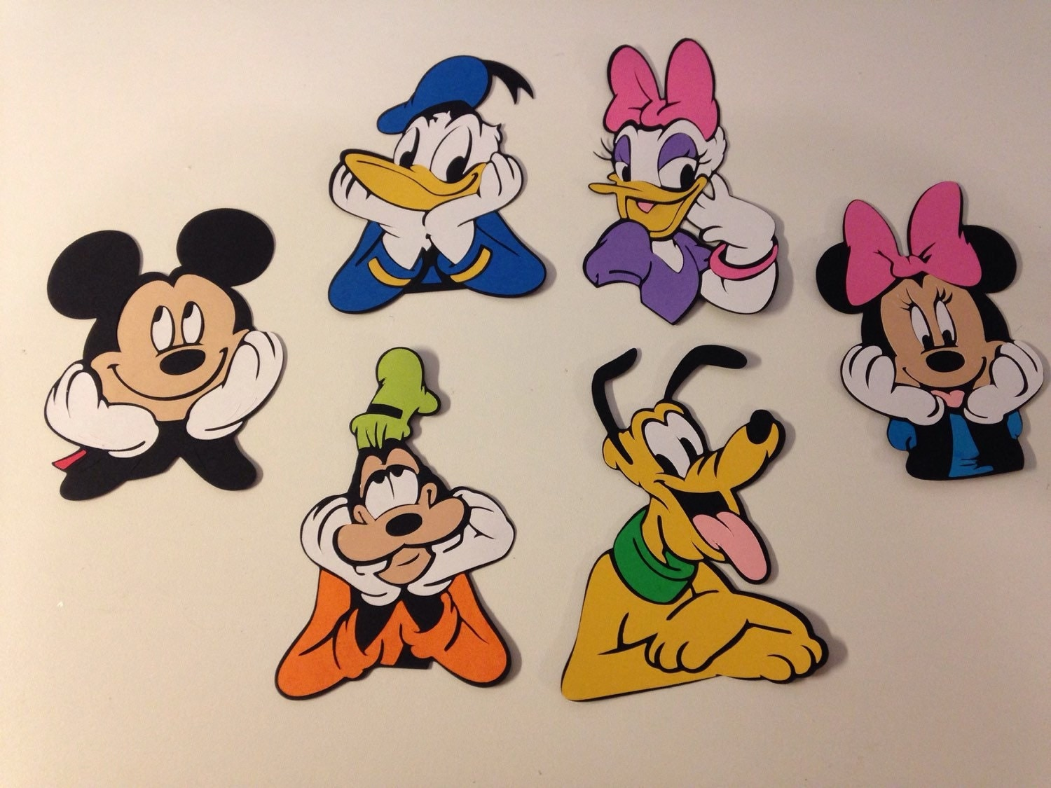 Set of 6 Disney Mickey Mouse character die cut faces