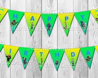 Zootopia Banner, Zootopia Birthday Banner, Zootopia Party Banner, Zootopia decoration, Zootopia Party Supplies - ONLY FILE