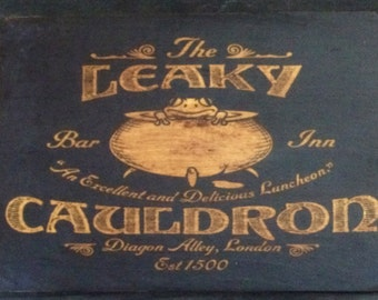 Leaky Cauldron Rustic Distressed Sign